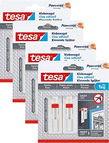 tesa-Verstellbarer-Klebenagel-fr-Tapeten-und-PutzSelbstklebender-Nagel-von-tesa-Powerstrips-8-x-1-kg-Halteleistung