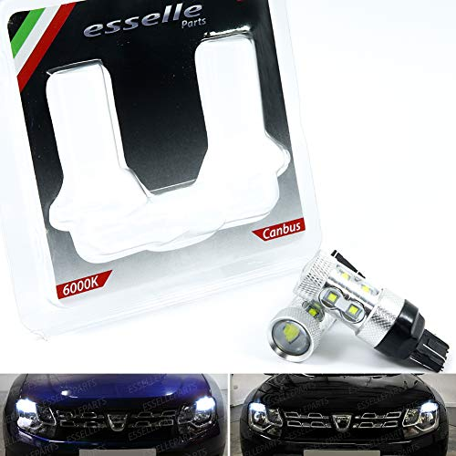ESSELLE PARTS Coppia LUCI DIURNE DRL LED T20 W21/5W CANBUS Dacia Duster RESTYLING 6000K Bianco No...