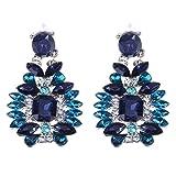 Prosperveil Fashion elegante glitter blu cristallo STRASS lega orecchini gioielli