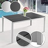 Gartentisch 150 x 90 cm | aus Stahl und Kunststoff, für bis zu 6 Personen, Witterungs- und UV-beständig, in Grau | Metall Tisch Garten Balkon Esstisch Sitzgarnitur Gartenmöbel (Hellgrau)