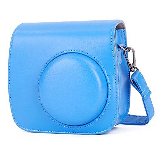 Leebotree Fujifilm Instax Mini 9 Tasche, Schutztasche aus Weichem Kunstleder mit Schulterriemen und Tasche für Fujifilm Instax Mini 8 8+/Mini 9 Sofortbildkamera (Cobalt Blau)
