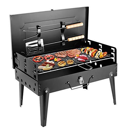 SunJas BBQ Barbecue Grill Griglia Carbone BBQ in Ferro Giardino Barbecue Grill con 2 Vassoio (44 ×...