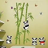 Alicemall Pegatinas de Pared PVC Vinilos Pared para Sala de Estar y Dormitorio Bambu Verde Lindo Pandas con Mariposas 115*118cm