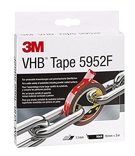 3M VHB 5952 Hochleistungsklebeband schwarz / Extra starkes doppelseitiges Klebeband für schwierig zu klebende Oberflächen im Innen- und Außenbereich / 1 Rolle (3 m x 19 x 1,1 mm)