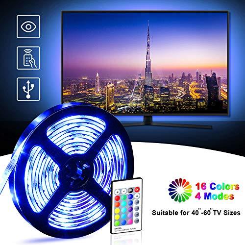 Retroilluminazione TV LED, OMERIL 2.2M Striscia LED Impermeabile con 16 Colori e 4 Modalità per HDTV da 40-60 Pollici/PC Monitor, Alimentata USB LED Striscia 5050 RGB con 24 Tasti Telecomando