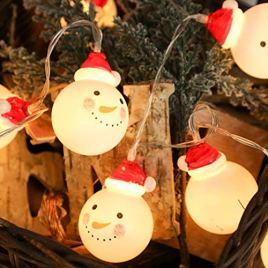 Lanlan LED lumière Chapelet à Batterie Bonhomme de Neige pour décoration noël pour intérieur extérieur Jardin Salon Chambre à Coucher, 1,5m 10LED/2M 20LED/3M 20LED