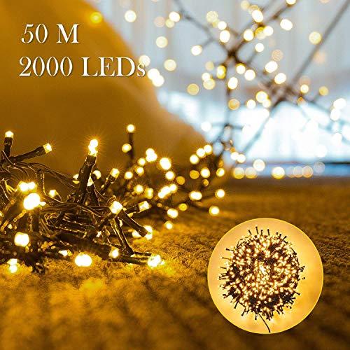 Avoalre Stringa Luci Catena Luminosa 2000 LEDs 50M Illuminazione 8 Modalità Interno/Esterno Impermeabile LED Luci Decorative per Atmosfera Romantica Camera Festa Nozze Compleanno Natale Bianco Caldo