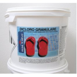 Lapi – Secchio 10 Kg Dicloro Granulare 56% A Rapida Dissoluzione Per Il Mantenimento Dell'Acqua Piscina. cloro in grani per acqua piscina prodotto da azienda Italiana certificata
