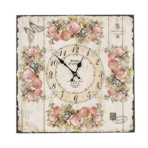 efecto madera Flores Rosas Mariposa Sello Cuadrado Reloj de pared 40cmx 40cmx 5cm