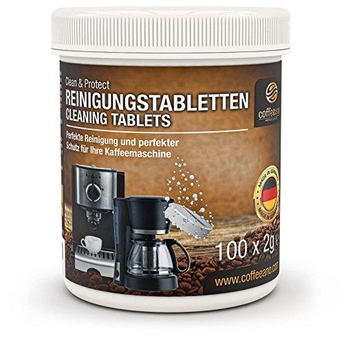 Coffeeano 100 Reinigungstabletten für Kaffeevollautomaten und Kaffeemaschinen Clean&Protect. Reinigungstabs kompatibel mit Jura, Siemens, Krups, Bosch, Miele, Melitta, WMF uvm. (1 Dose - 100 Stück)