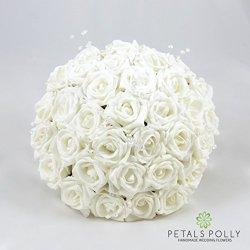 floristikvergleich.de Künstliche Petals Polly Flowers Brautstrauß, handgemacht, Weiß Rosen