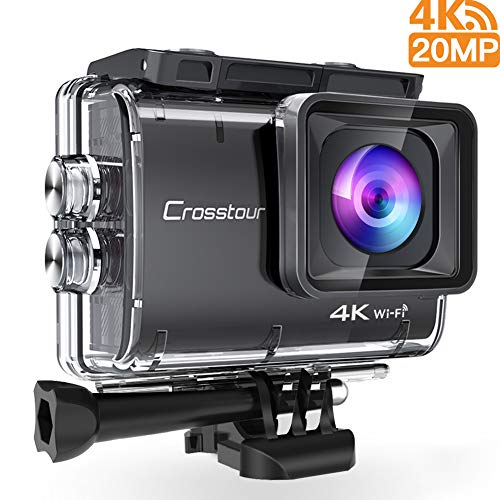 Crosstour Action Cam 4K 20MP Fotocamera WiFi Subacquea 40m Anti Shake Time Lapse e Registrazione Loop Plus 2 Batterie Ricaricabili 1350mAh Caricabatterie USB e Accessori