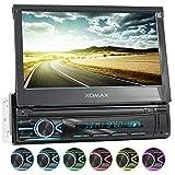 XOMAX XM-V746 Autoradio mit Mirrorlink I 7 Zoll / 18 cm Touchscreen I Bluetooth Freisprecheinrichtung I RDS I SD, USB, AUX I Anschlüsse für Front- und Rückfahrkamera und Lenkradfernbedienung I 1 DIN