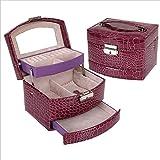 Modello coccodrillo automatico scatola di gioielli squisita in pelle tre strati contenitore di monili contenitore di monili / caso cosmetico , purple