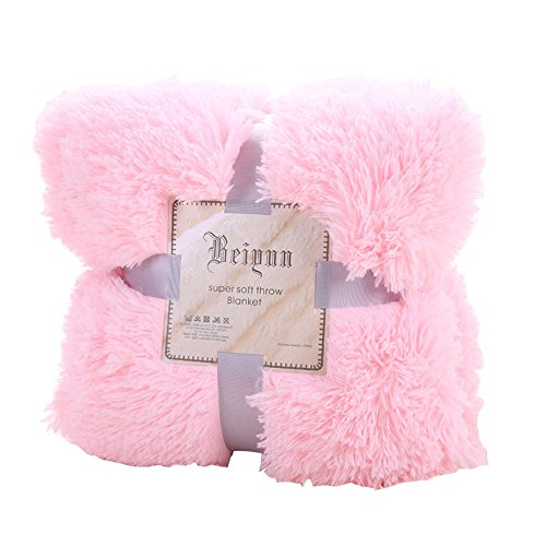 urijk PV coperta velluto coperta letto copriletto in pelliccia sintetica, Impianto Aria condizionata Coperta per divano letto sedia divano 130cmx160cm Pink