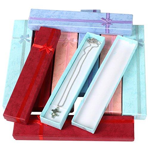 TRIXES 10 x Lussuose ed Eleganti scatole Regalo rettangolari Lunghe, Adatte per Collana o per...