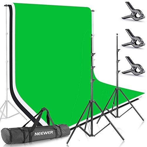Neewer Foto Studio 2.6 X 3 metri Fondale Supporto per sistema di fondo con Fondale di 1,8 x 2,8 metri in tessuto (bianco, nero, verde) per Ritratti Prodotti Ripresa video