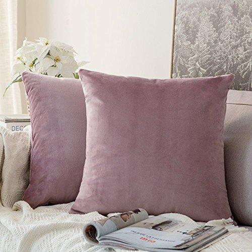 MIULEE Confezione da 2 Federe in Velluto Copricuscini Decorativi Fodere Quadrate per Cuscino per Divano Camera da Letto Casa Auto 40X40cm Rosa Viola