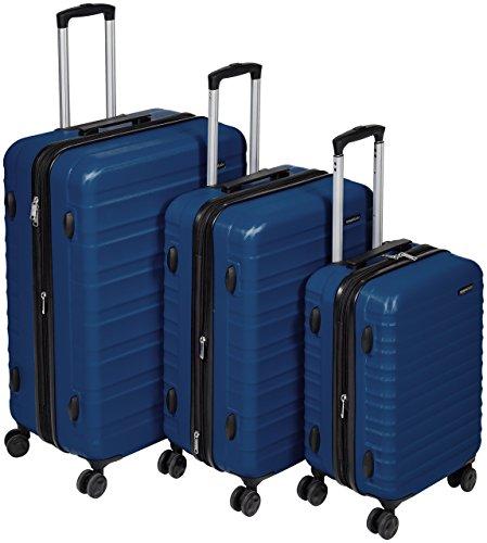 AmazonBasics - Set di trolley rigidi con rotelle girevoli, Set da 3 pezzi (55 cm, 68 cm, 78 cm), Blu...