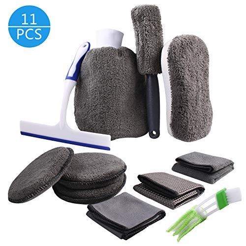 Auto Reiniger Set, Atuten 11-Teiliges Autopflege Set mit Autowaschhandschuh Reinigungstuch Feuchtigkeits-Pad Schwamm Felgenbürste Autobürste Rakel