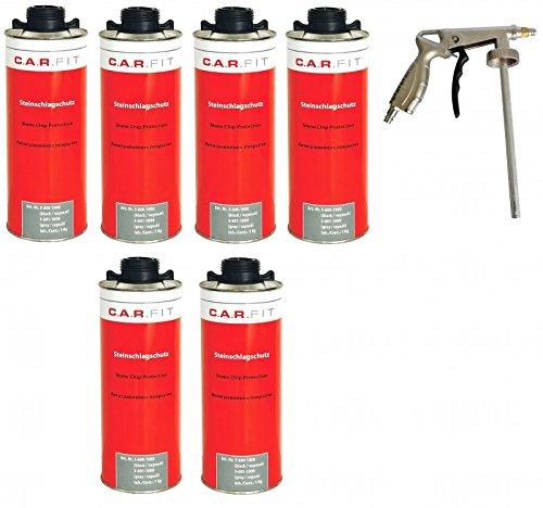 Autolack 6X CARFIT Unterbodenschutz/Steinschlagschutz schwarz + Pistole