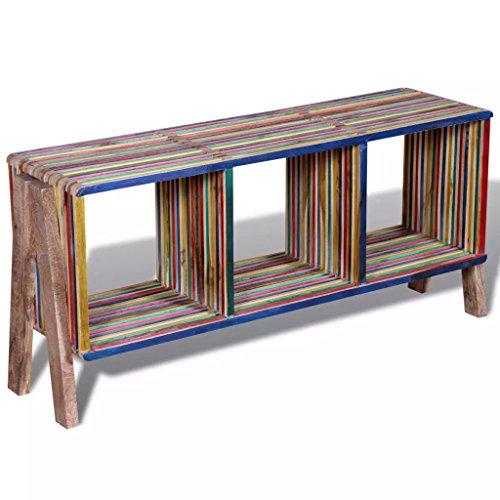 Luckyfu Questo Mobile TV con 3 mensole impilabile in legno anticato colorato di teak.Il Mobile Porta...