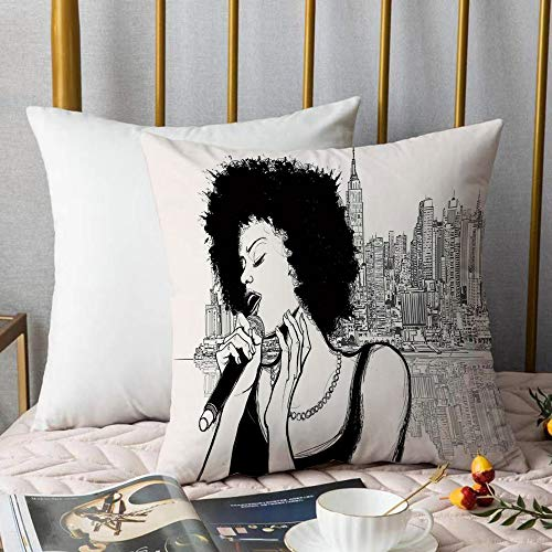 Creativo copricuscino,Afro Decor, American Jazz Music Girl esibendosi di fronte a New York Manhattan illustrazione, nero grigio,Stampate Federe Cuscino Divano Decorazione Cuscino Copertina -45 x45cm