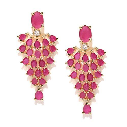 Jewels Galaxy Copper Drop Earrings for Women (Pink)(MYN-ERG-6182)