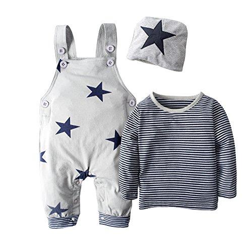 BIG ELEPHANT 3 piezas de manga larga para bebés de la camisa de los muchachos que arropan el sistema con el sombrero H92