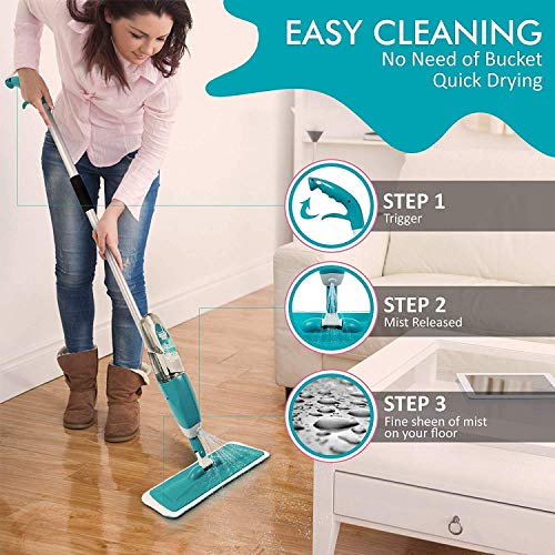 weltime Multifunctional Stainless Steel Microfiber Floor Cleaning Mop with Removable Washable Pad and Integrated Water Spray Mechanism, mop for Cleaning Floor, mop Floor Cleaner (Multicolour)