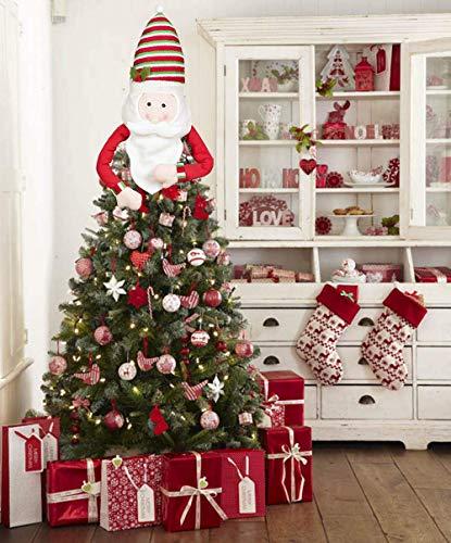 Sayala Topper Albero di Natale, Grande Babbo Natale,Pupazzo di Neve,Renna Cappello Topper Albero di Natale per Decorazioni Albero di Natale (Le père Noël)