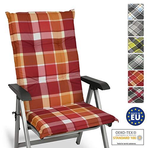 Beautissu Cuscino per Sdraio, poltrone e sedie da Giardino Sunny RO Rosso 120x50x6cm - Extra Comfort - Colori Resistenti ai Raggi UV