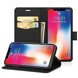 Kaufen iPhone XS Hülle, iPhone X Hülle Case, EasyAcc PU Kunstleder mit Kartenhalter und Faltbare Tasche Handyhülle mit Standfunktion und Auto Sleep / Wake Up Funktion Brieftasche Handy Schutzhülle für iPhone X - Schwarz