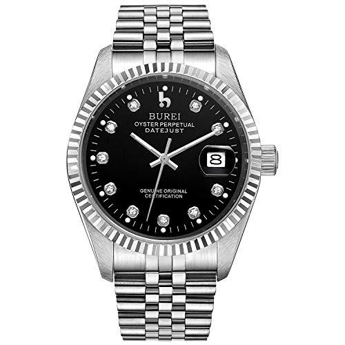 BUREI Herrenuhr mechanische Automatik Armbanduhr 24 Dial Analog Display Automatikuhr Lederband Edelstahlarmband Wasserdicht Stylish Armbanduhren (Silber-Schwarz)