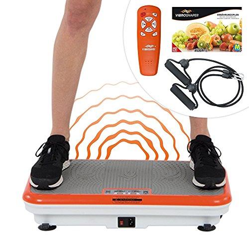 Mediashop Vibro Shaper Vibrationsplatte Ganzkörper Trainingsgerät rutschfest große Fläche inkl Trainingsbänder Ernährungsplan | Das Original aus dem TV