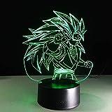 Wzngzj 3D Illusion Visuelle Lampe Statuette Dragon Ball 3D Illusion Visuelle Lampe Décor À La Maison Acrylique Led Art Enfants Cadeau