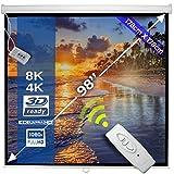Écran de Projection Motorisé|178 x 178 cm, 99 Pouces, Formats 1:1, 4: 3, 16: 9, HDTV, 8K, 4K,Gain 1.0, Blanc |Hauteur Réglable, Pliable, avec Télécommande| Écran de Projecteur