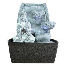 Zen'Light Fontaine d'Intérieur Mur Bouddha Méditation, Plateado, 20 x 15 x 24 cm