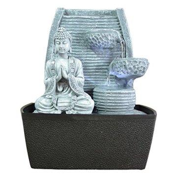 Zen'Light Fontaine d'Intérieur Mur Bouddha Méditation, Plateado, 20 x 15 x 24 cm 3