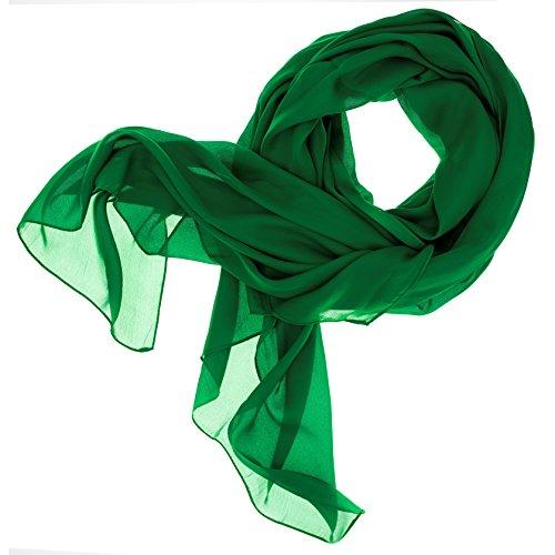 DOLCE ABBRACCIO by RiemTEX Lady Sunshine Damen Seidenschal XXL Schal Halstuch Tuch Stola aus feinstem Chiffon mit Seide (Smaragd)