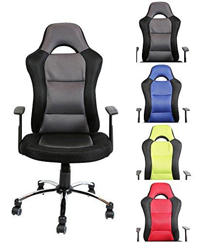 CLP Silla de oficina con el asiento deportivo JERRY, muy cómodo con ruedas ligeras, altura del asiento 51 - 61 cm, diversos colores gris