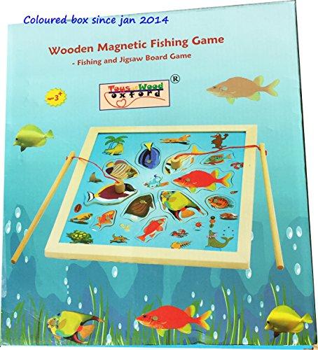 TOWO Gioco da Pesca in Legno Magnetico – include 15 Sagome in Legno con Calamita e due Canne d