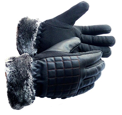 AlexVyan Leather Fur Inside Warm Riding Winter Gloves Causal Wrist Soft Covered Finger Mittens Windproof Mittens for Men Women Boy Girl Male Female