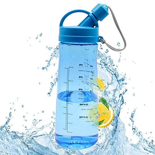 Borraccia Palestra 1 Litro, BPA Free Bottiglia d'Acqua Sportiva Plastica, a Prova di Perdite, Detox Borracce Acqua con Filtro e Scala del Tempo per Sport, Yoga, la Corsa-Blu