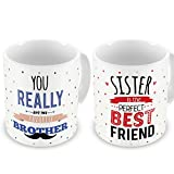 Indibni Perfect Sister Favorite Brother Quote Coffee Mug Combo Set Of 2 White 330 ml Gift for Sis on Birthday, Anniversary