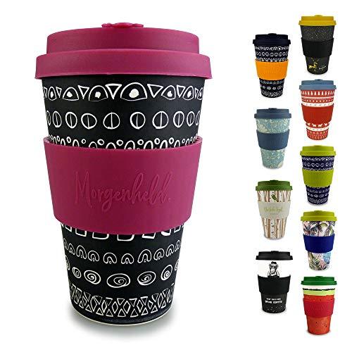 Morgenheld  il tuo bicchiere di bambù alla moda   Coffee-to-Go bicchiere ecologico   bicchiere ecosostenibile con coperchio in silicone e fascetta dal design futuristico da 400 ml