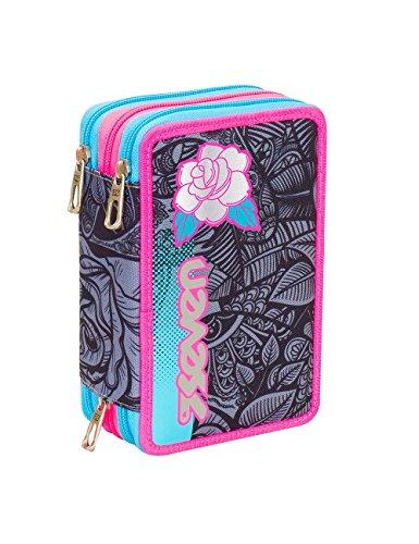 ASTUCCIO scuola SEVEN - ROSES GIRL - 3 scomparti - pennarelli matite gomma ecc.. Nero