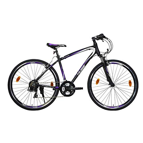 HUGE HYB 10 21 Speed 29T Hybrid Bicycle with Double DISC Brake-MATT Black/Violet Zoom SK
