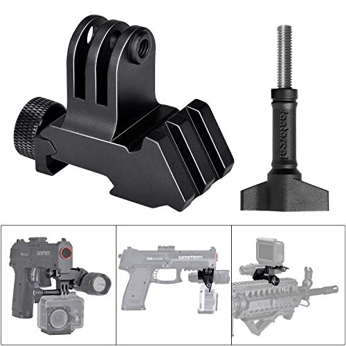 Picatinny Rail Gun Kit adattatore 2 in 1 in lega di alluminio ad alta precisione per GoPro Motion Sport Camcorder DV per AR15 M4 M16 Glock Rifle Carbine Paintball Airsoft Hunting Rec