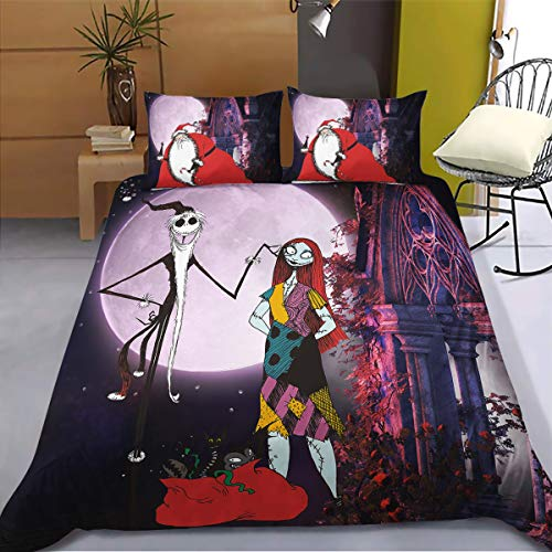WONGS BEDDING Set da Letto Nightmare Before Christmas Set Copripiumino Stampato Halloween Town Sally...